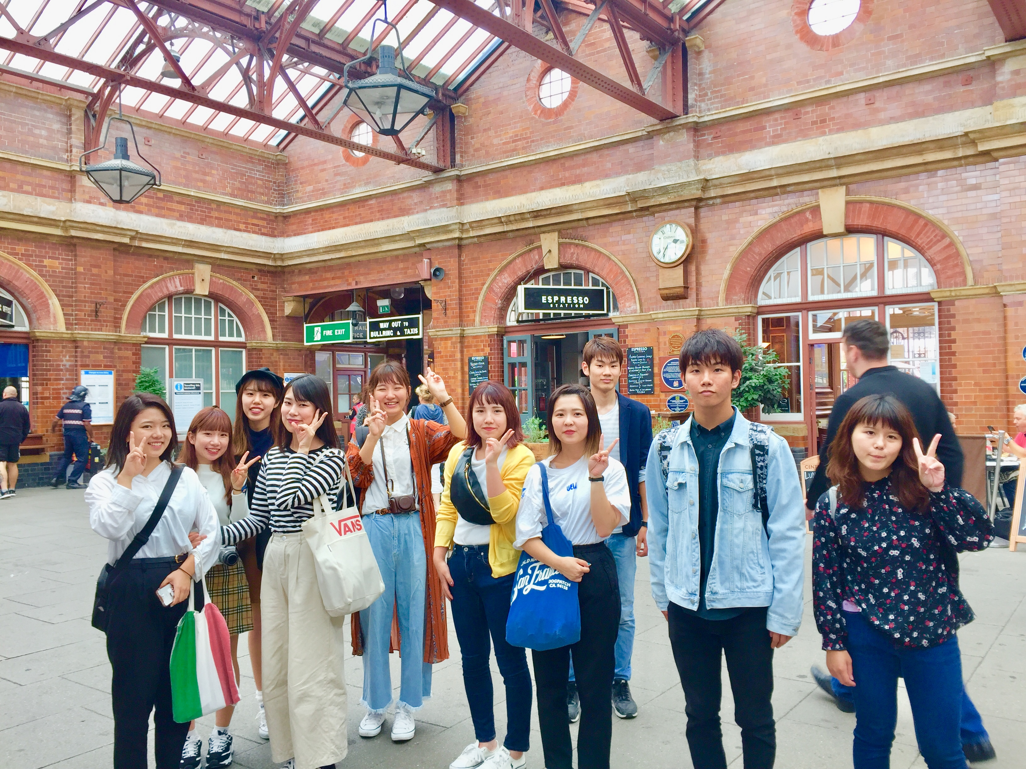 Japanese students arrive into London