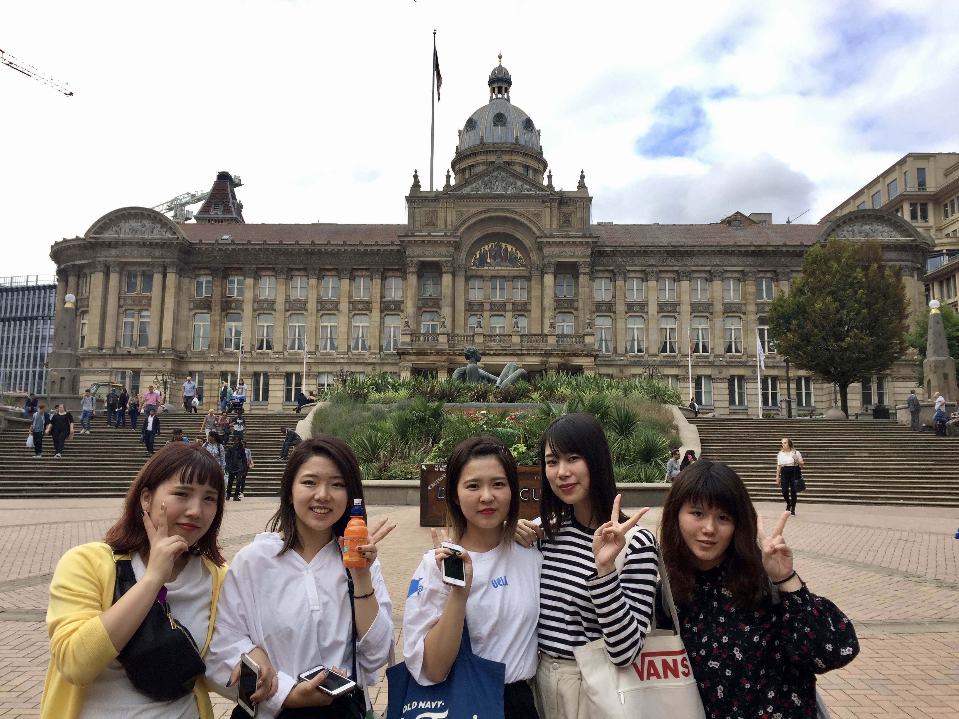 Japanese homestay students at Birmingham town hall