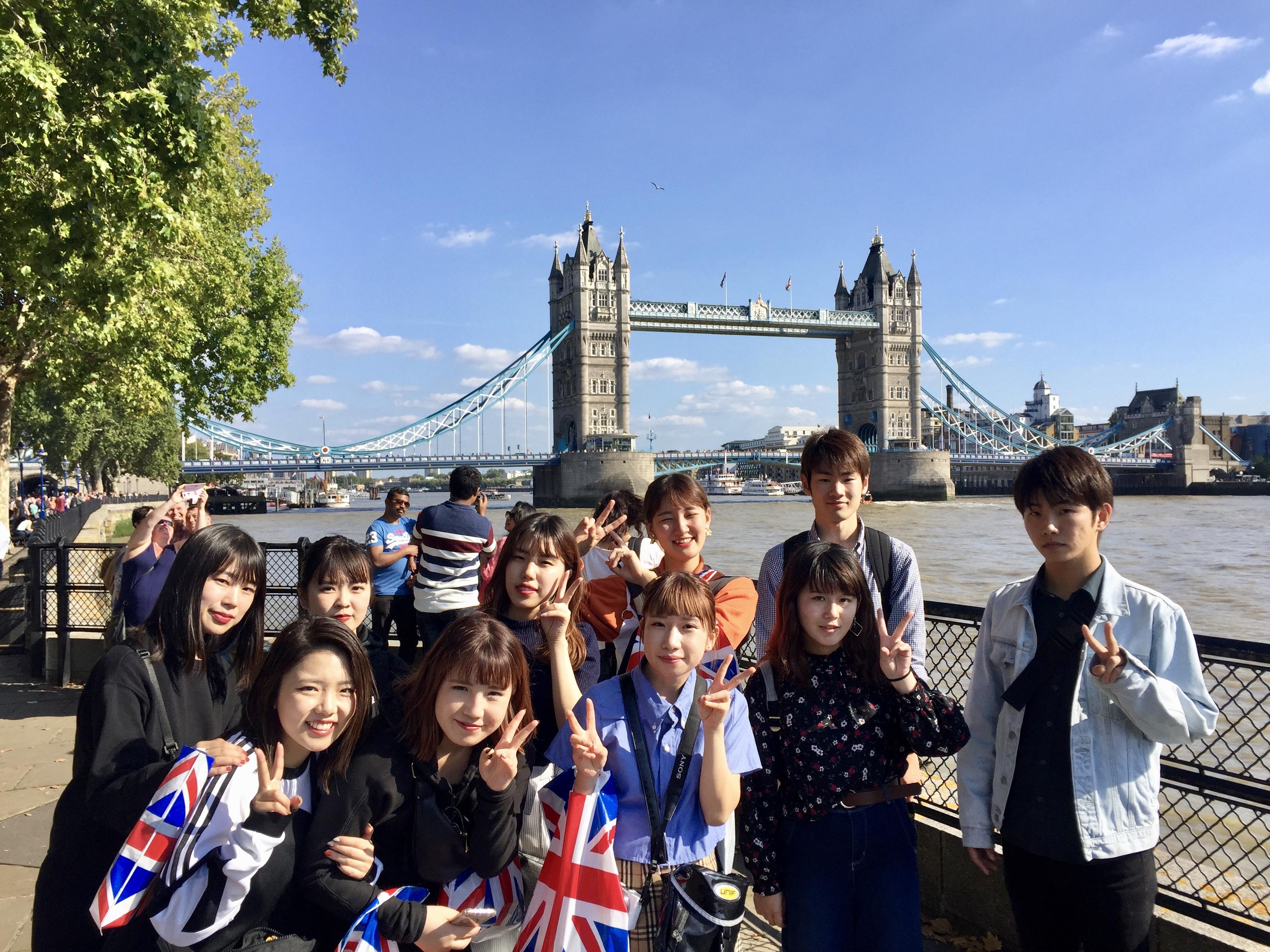 Japanese language students at Tower Bridge, London