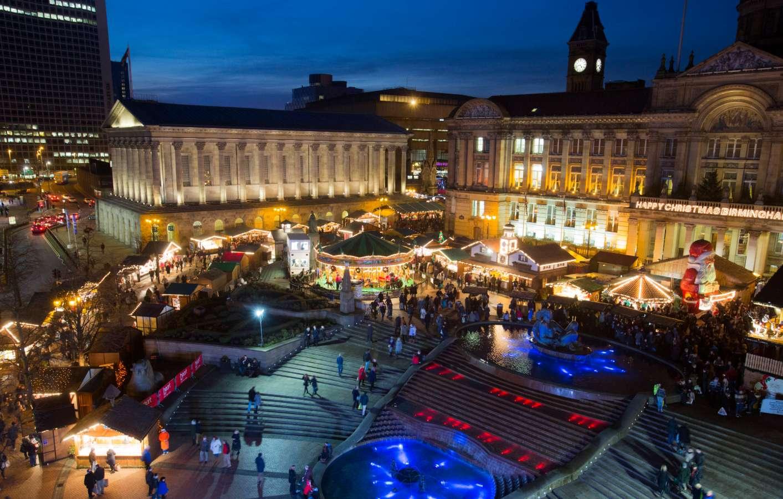 German Christmas Market in Birmingham at night
