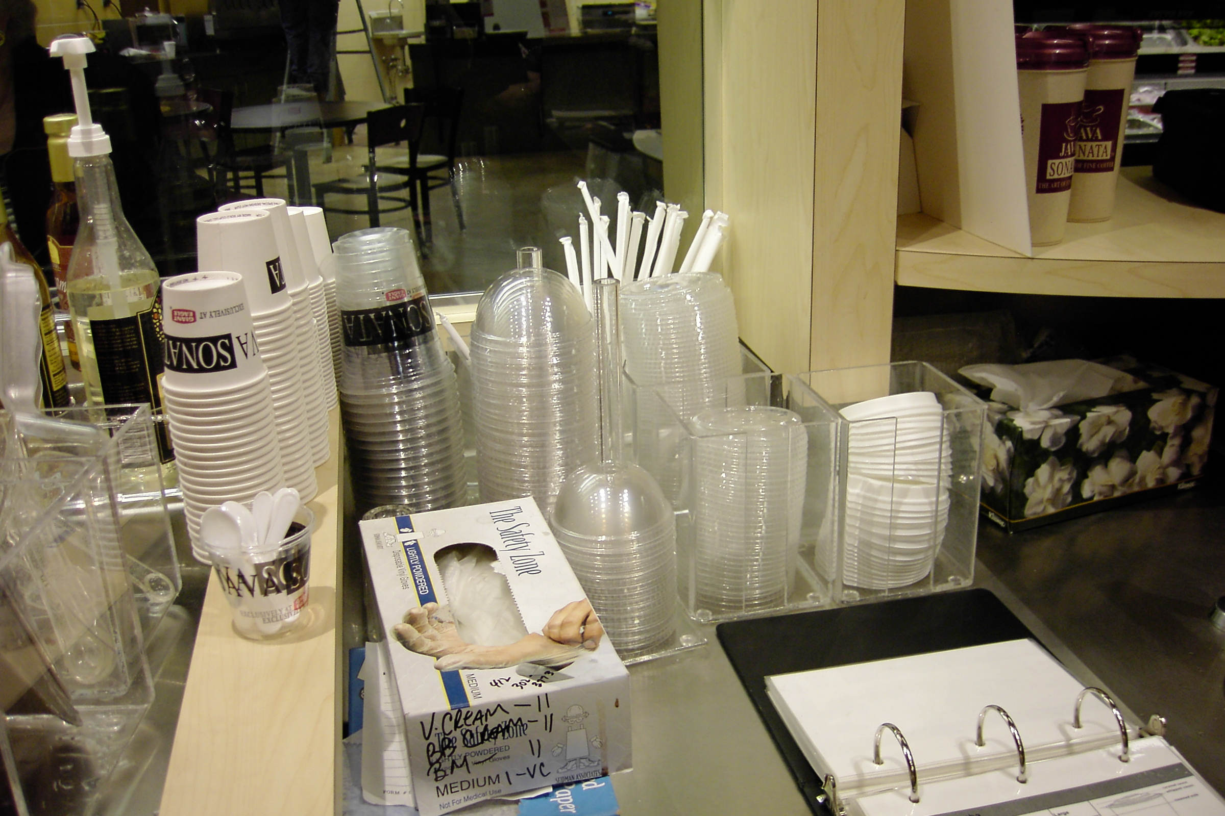 Custom designed acrylic condiment organizers.