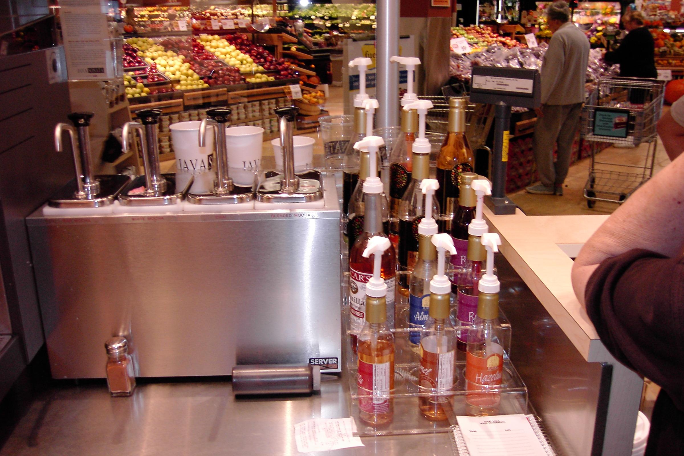 Custom designed acrylic syrup holders.