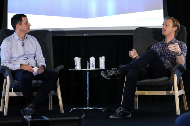 Connected VP Product Jonathan Savage speaking with Alan Klement at a Fireside Chat at Elevate Product 2018.