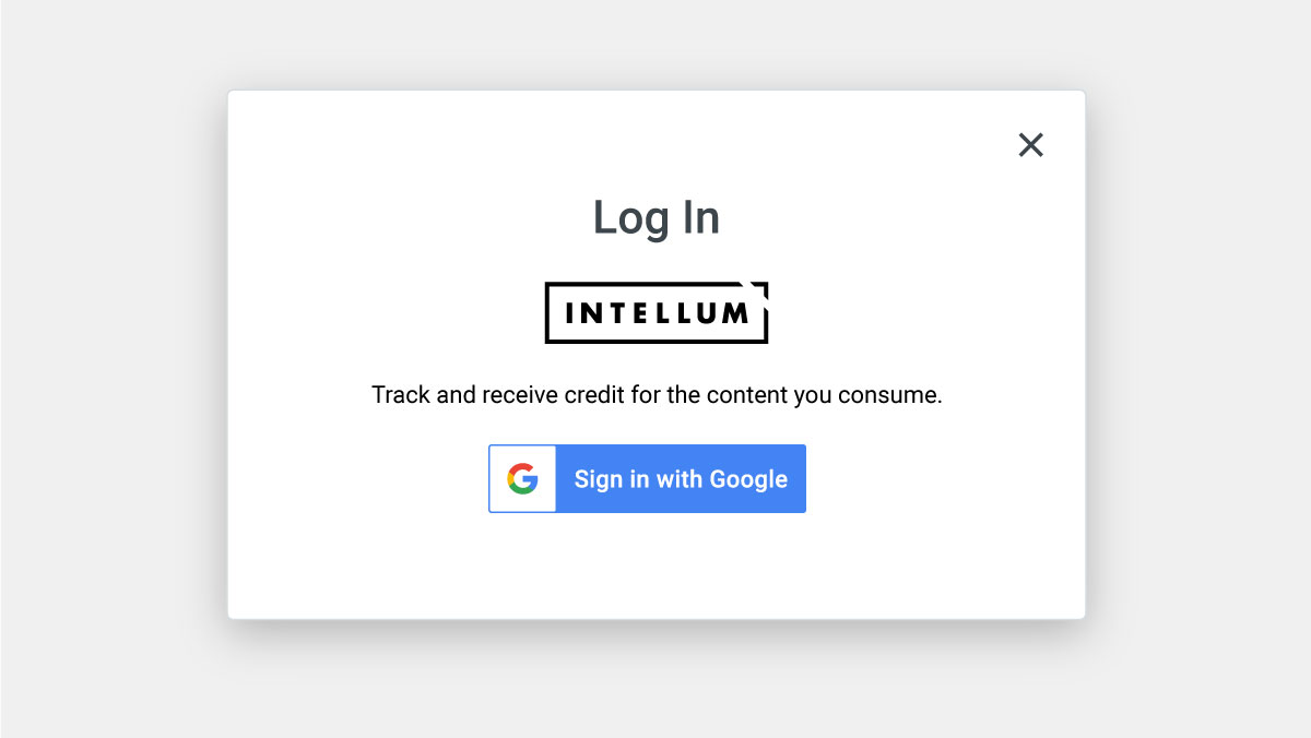 Log In Modal of Intellum Learning Platform