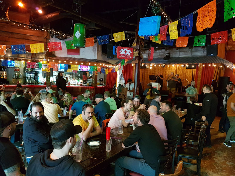 A wide shot of Intellum employees enjoying a meal together at a Mexican food restaurant