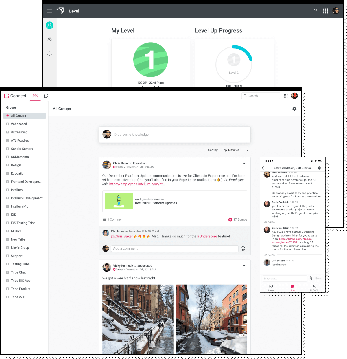 UI examples of extensions in the Intellum Platform. Featured UI examples of the Connect and Level extensions