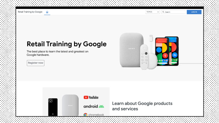 Homepage example of Google Retail Training using the Intellum Platform