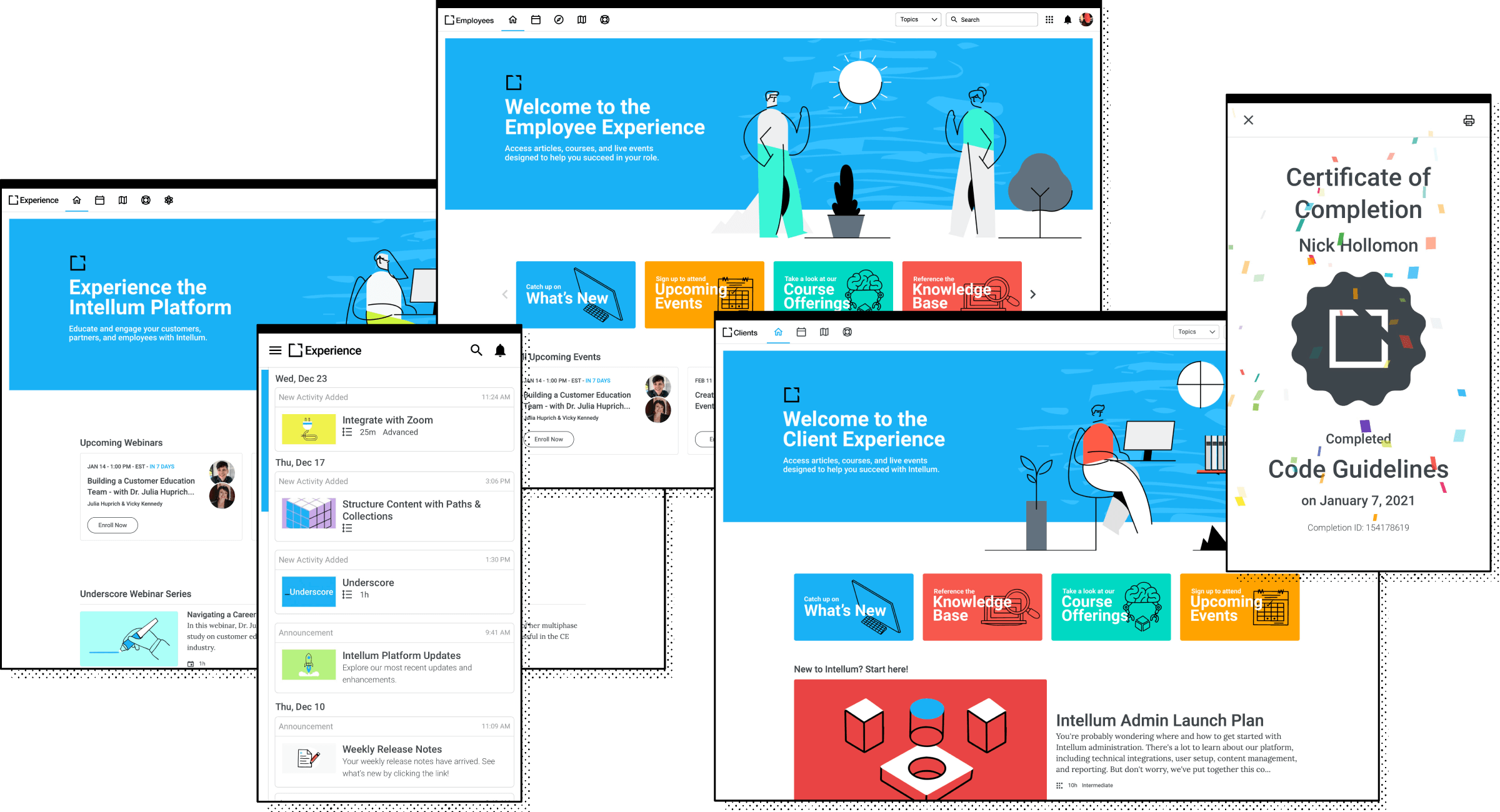 UI examples of the Intellum platform. Highlighting personalization, awards and notifications in the platform