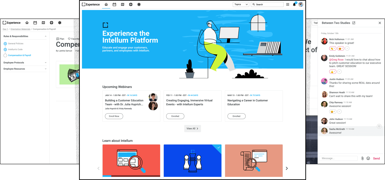 UI examples of the Intellum platform