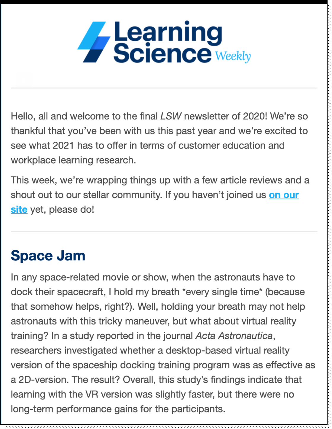 Learning Science Weekly email newsletter example