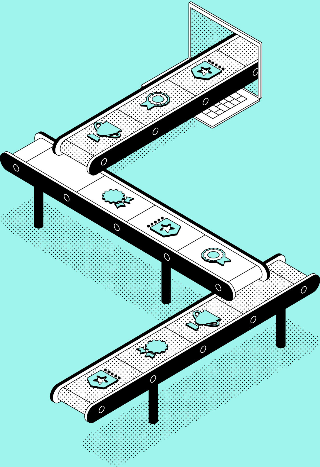Vector illustration of a conveyor belt moving awards and certification icons.
