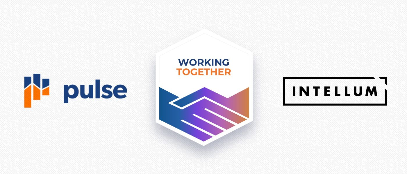 "Image showing the logos for Pulse and Intellum with a badge for ""Working Together"" between them."