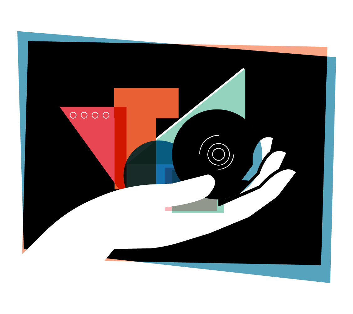 Illustration of a hand holding different abstract shapes