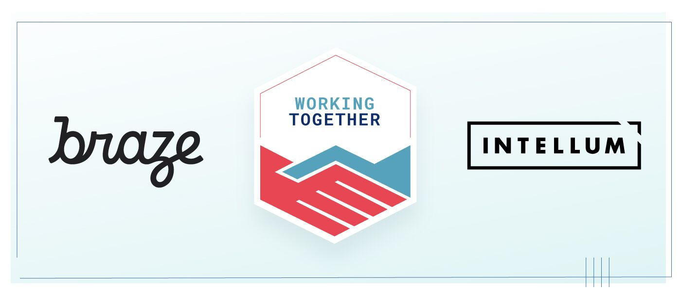 "Image showing the logos for Braze and Intellum with a badge for ""Working Together"" between them."