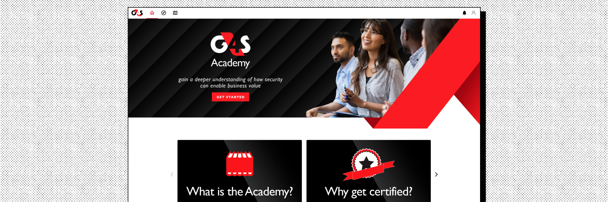 Homepage example of the G4S website on the Intellum Platform