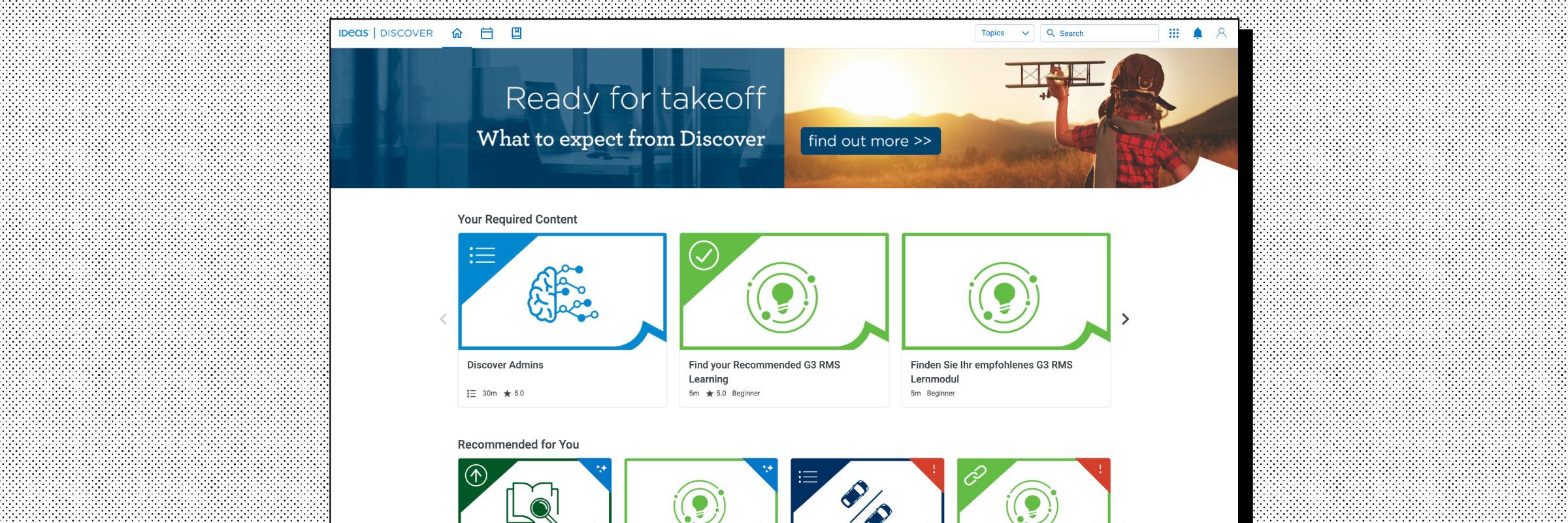 Homepage example of the IDeaS website on the Intellum Platform