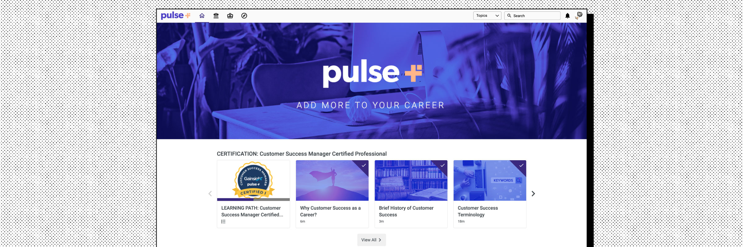 Homepage example of the Gainsight Pulse Plus website on the Intellum Platform