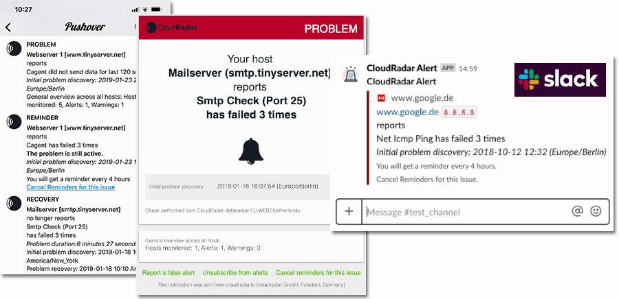 Email and push alerts - Slack, WhatsApp, SMS, Pushover, Telegram or Webhooks