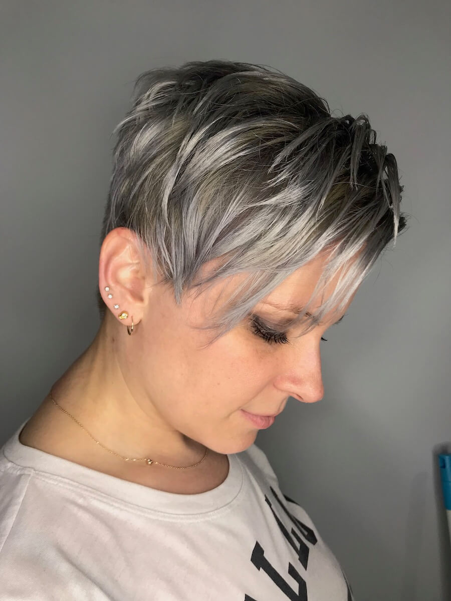 white and gray highlights