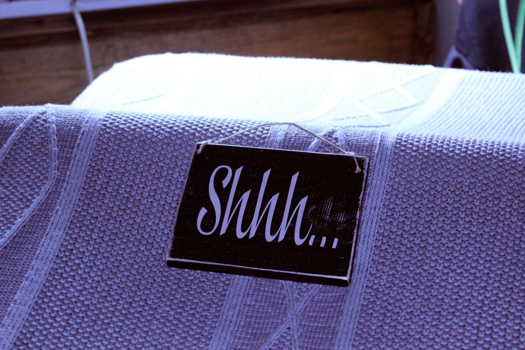 Photo of Shhh sign massage room