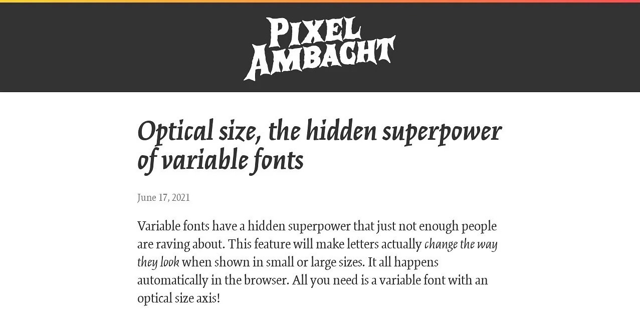 Optical size, the hidden superpower of variable fonts