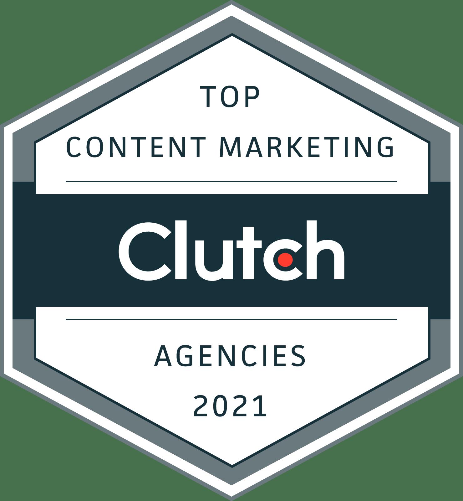 Clutch award for top content marketing agencies, 2021