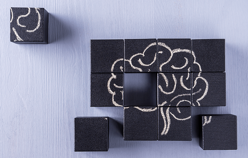 A series of black blocks placed together, with a chalk brain drawn over top - Neovation Learning Solutions