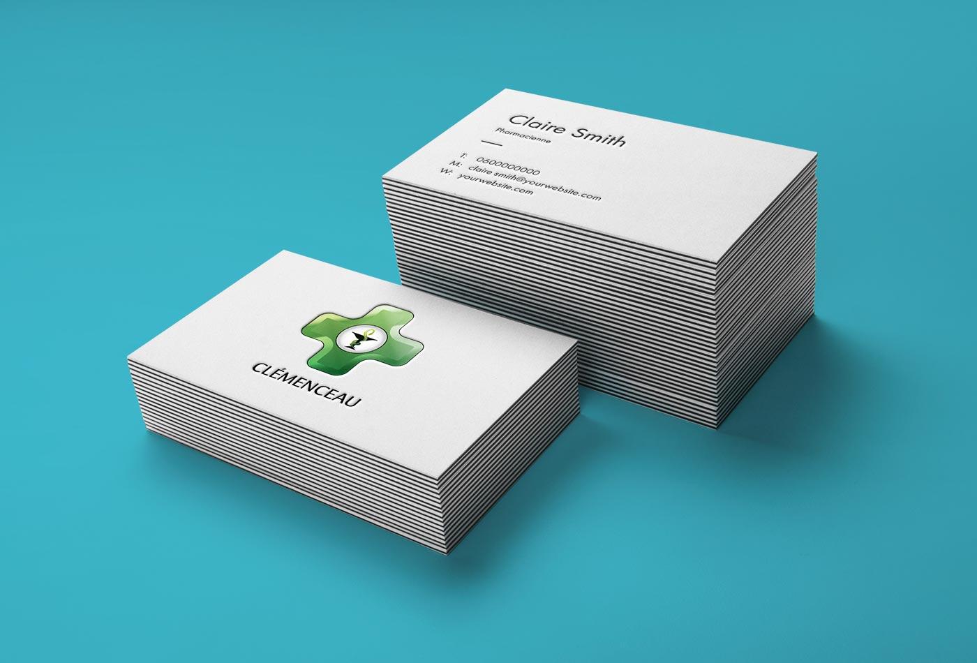Pharmacie Clémenceau : création d'un Logotype et cartes de visites