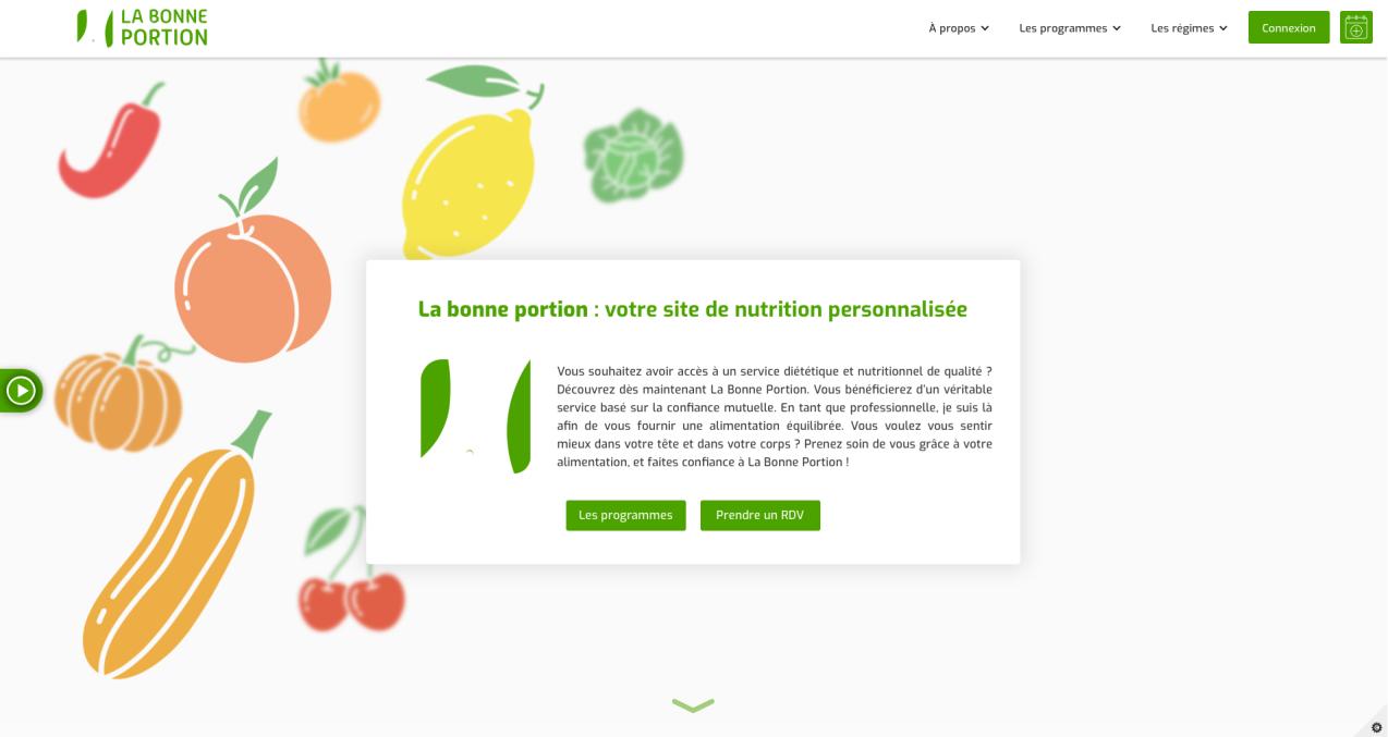 Capture page d'accueil site internet labonneportion.fr