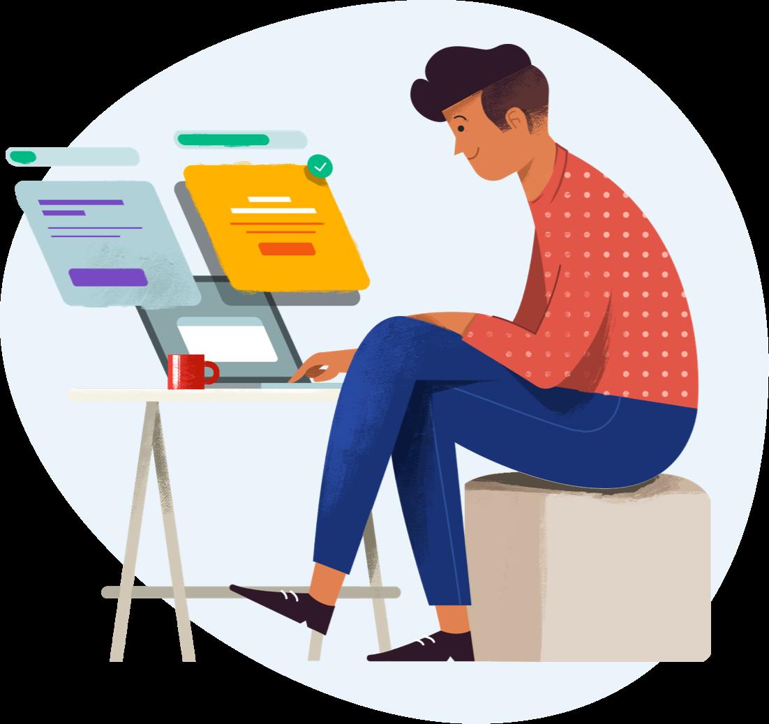 Illustration of designer working on designs