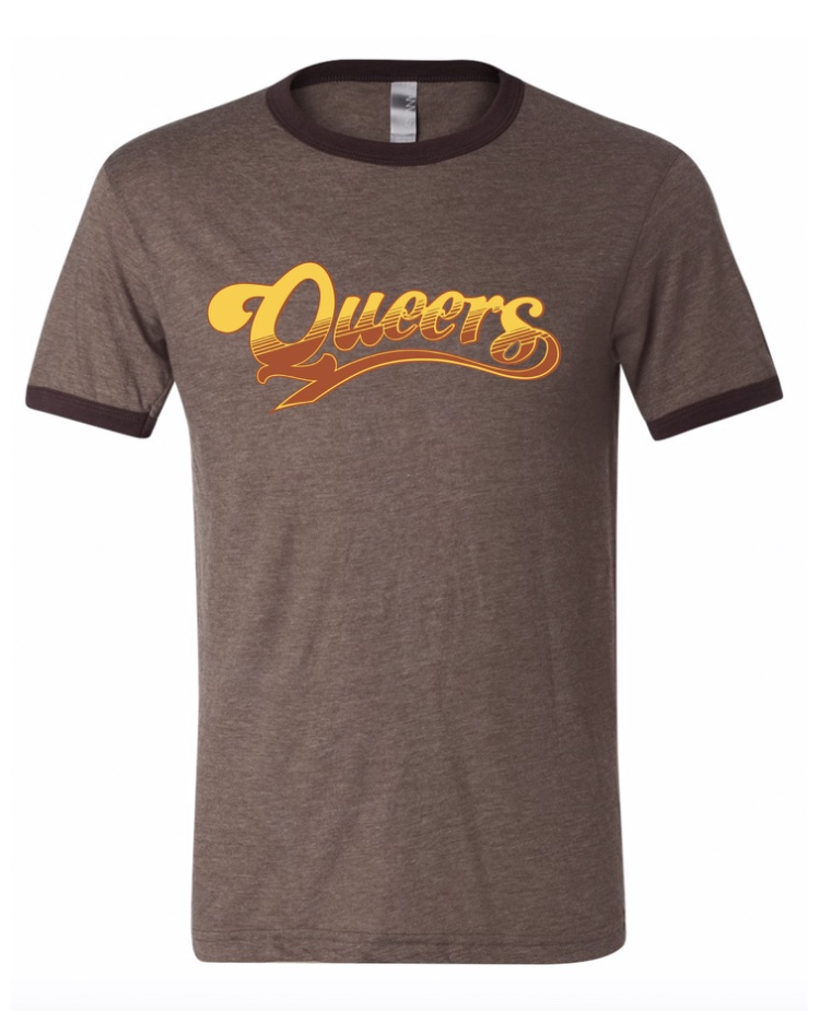 Cheers Queers Ringer Shirt Tan/Brown