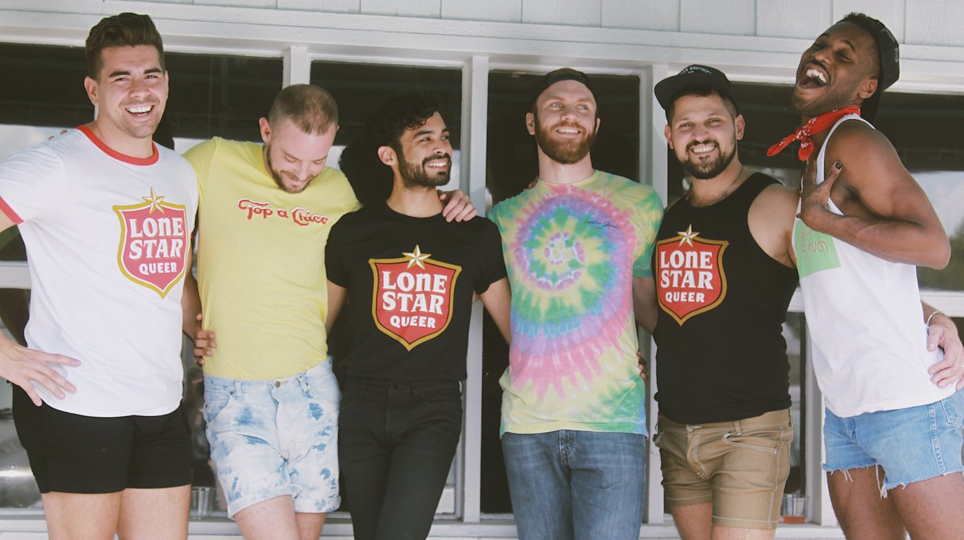 Six cute young gay guys wearing Lonestar Queer T-shirts