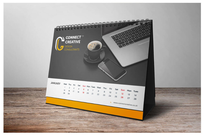 Photo of a personalised calendar printing designed by Connect Creative Design