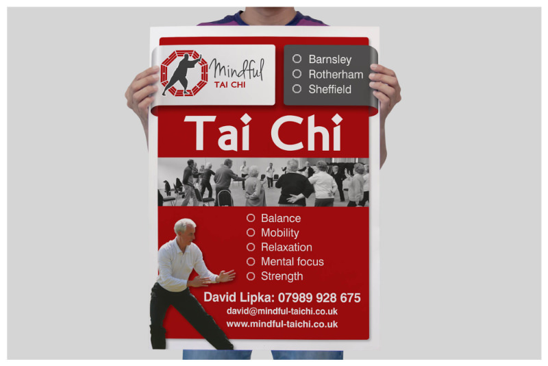 Photo of Mindful Tai Chi Sheffield poster printed by Connect Creative Design in Barnsley