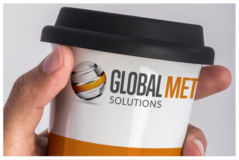 Photo of Global Metal Solutions personalised merchandise cup by Connect Creative Design in Barnsley