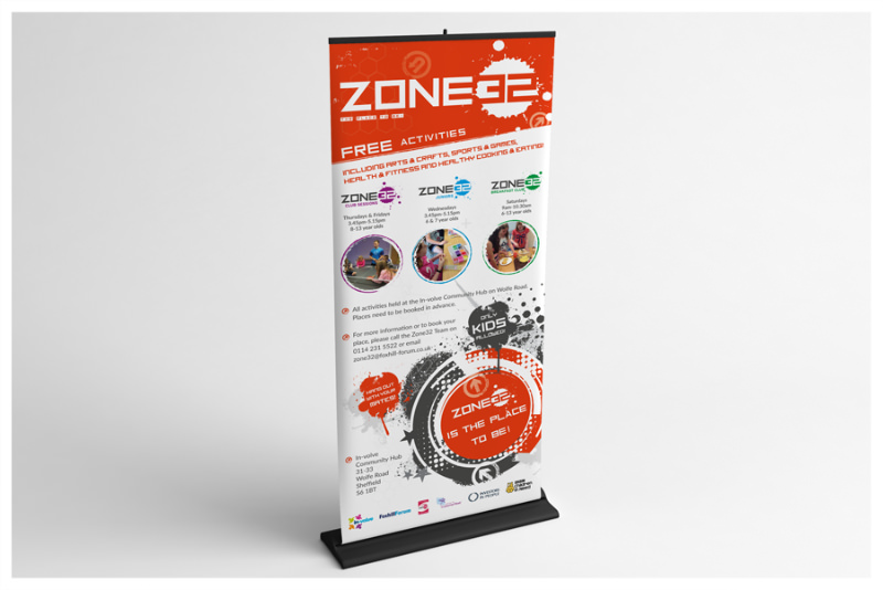 Photo of Zone-32 Sheffield pull-up roller banner by Connect Creative Design in Barnsley