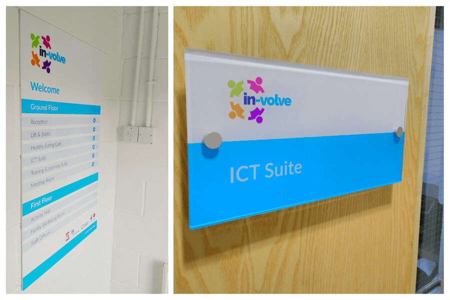 Photo of In-Volve Sheffield building way-finding signage by Connect Creative Design in Barnsley