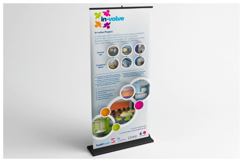Photo of In-Volve pull-up roller banner stand by Connect Creative Design in Barnsley