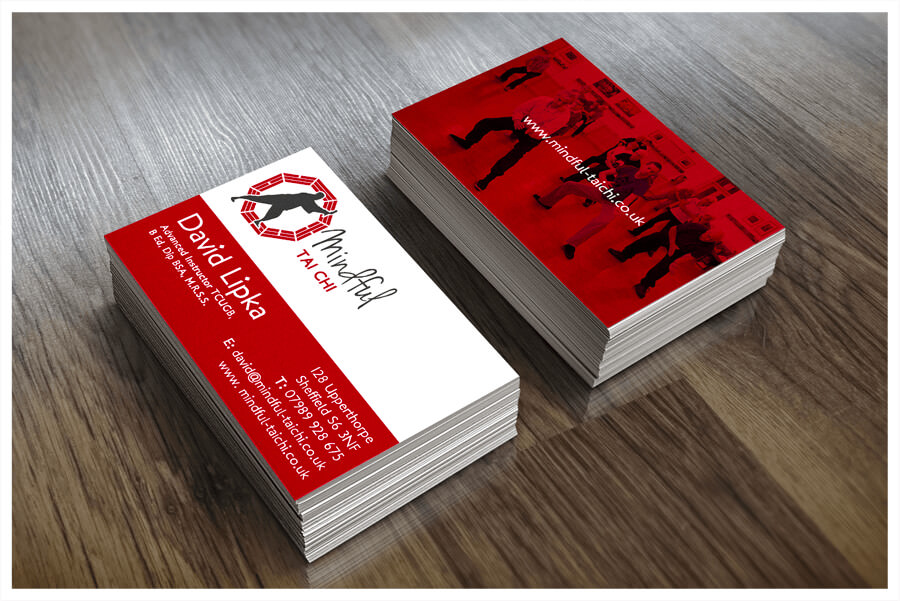 Photo of Mindful Tai Chi Sheffield business cards printed by Connect Creative Design in Barnsley