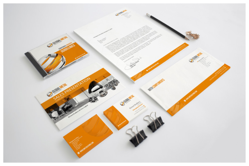 Photo of Global Metal Solutions stationery mockup by Connect Creative Design in Barnsley