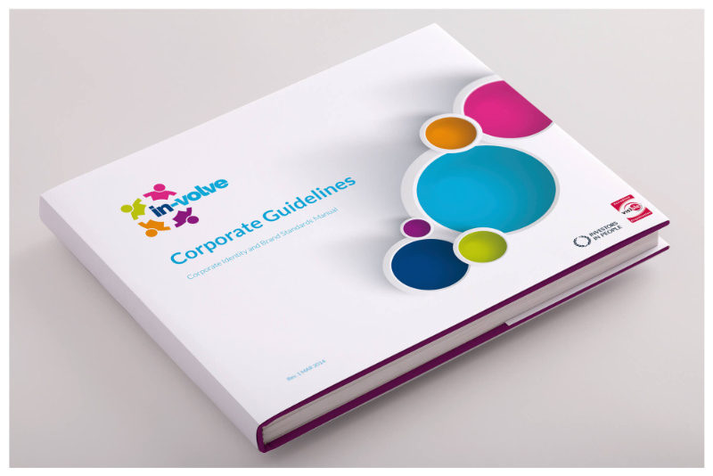 Photo of In-Volve corporate branding guidelines as a printed hardback book by Connect Creative Design in Barnsley