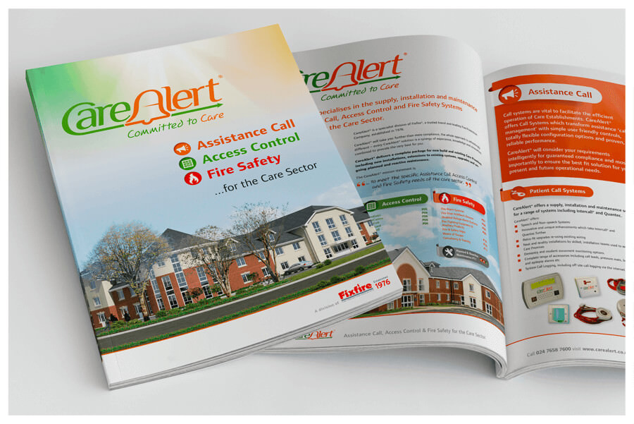 Photo of CareAlert product brochure designed by Connect Creative Design