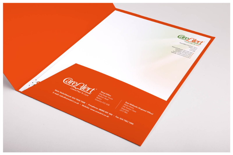 Photo of CareAlert folder designed by Connect Creative Design