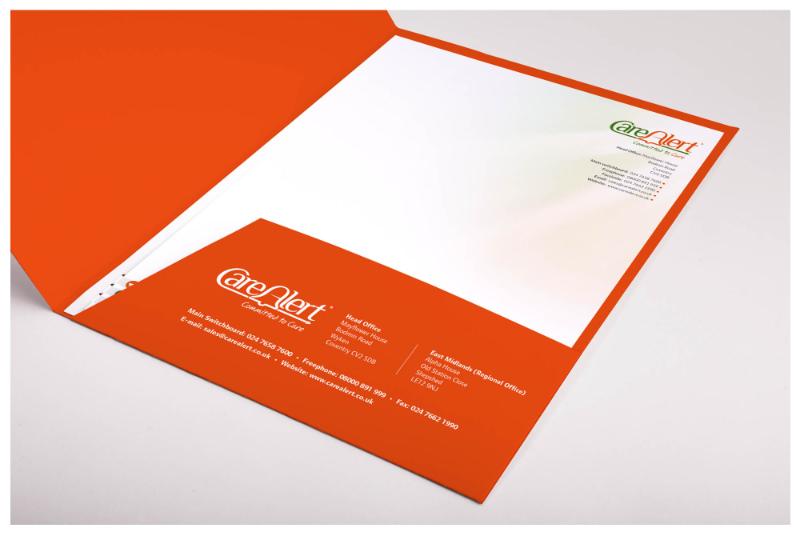 Photo of CareAlert folder designed by Connect Creative Design