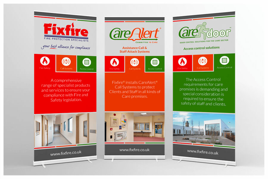 Photo of Fixfire pull-up roller banner stands by Connect Creative Design in Barnsley
