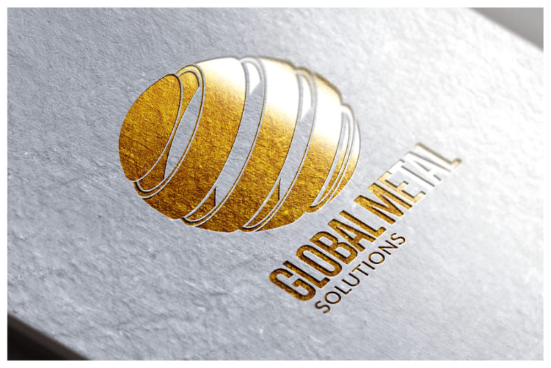 Photo of Global Metal Solutions foil blocked logo designed by Connect Creative Design