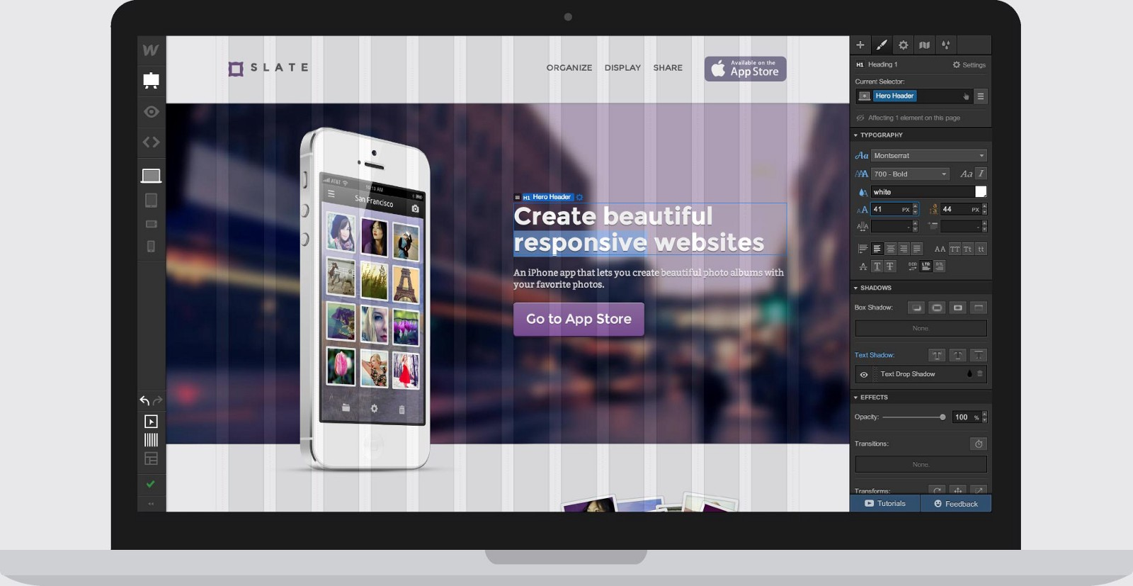 Webflow web design platform