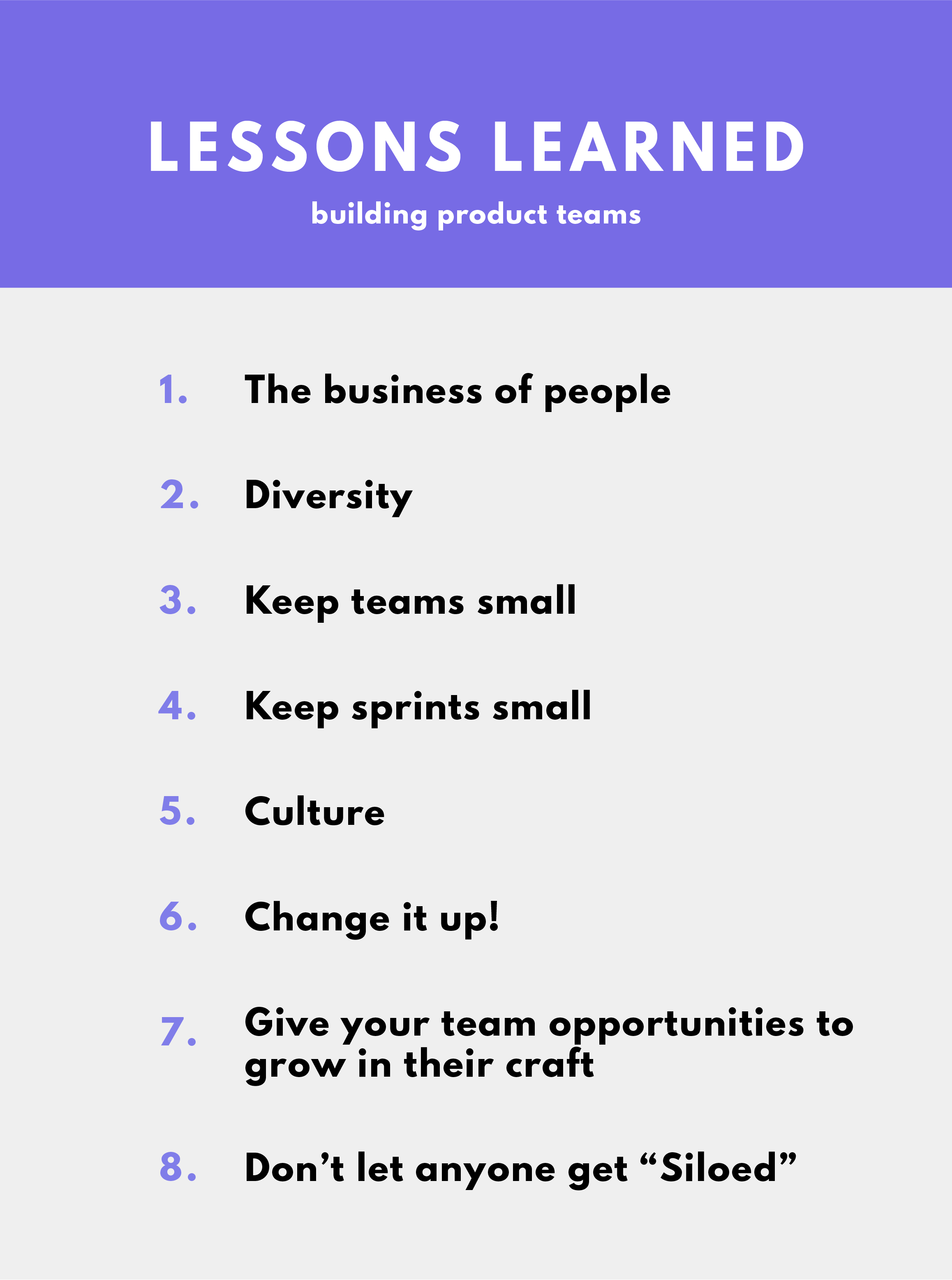 lessons learned list from managing and creating product teams
