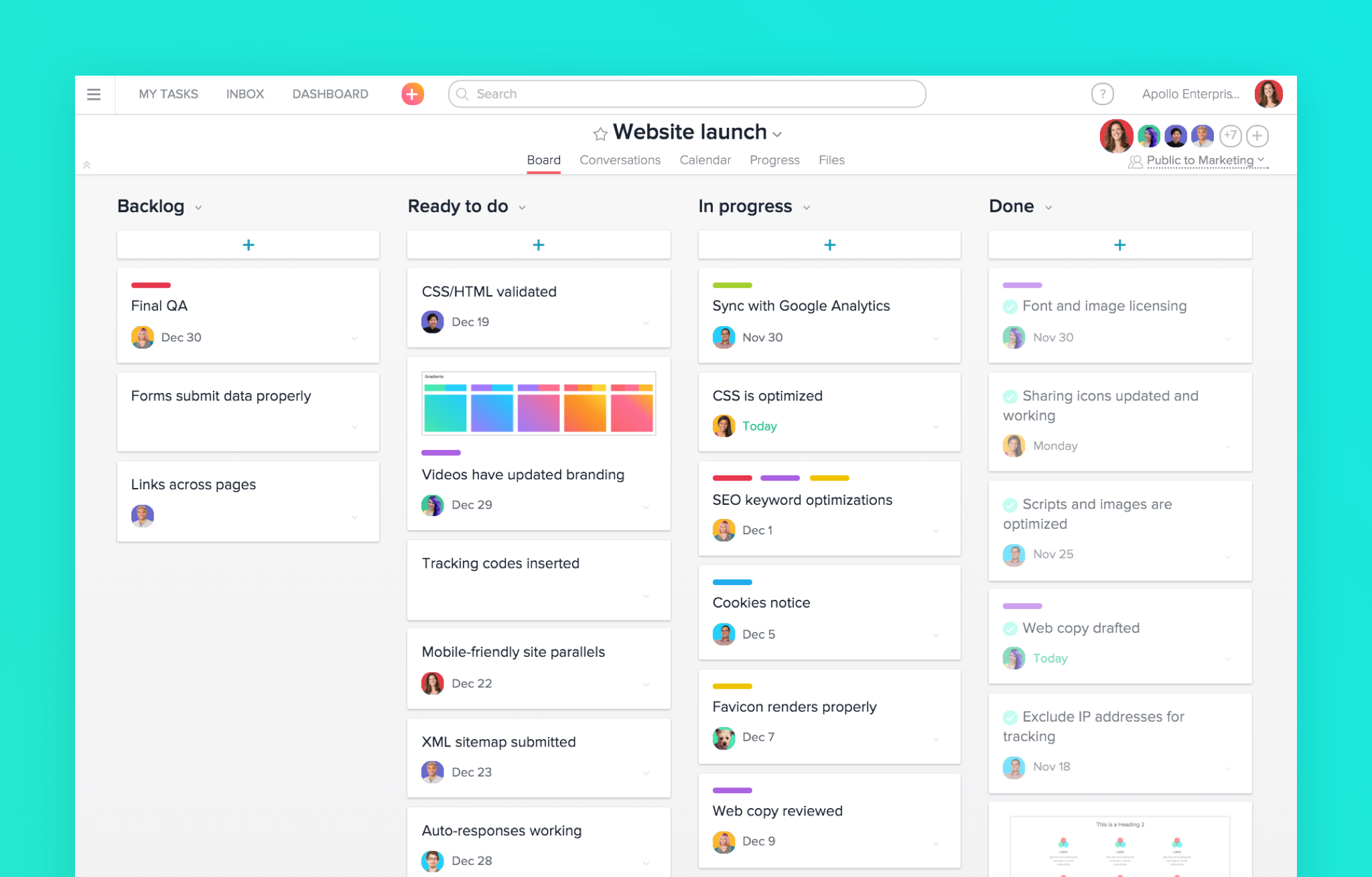 screenshot of asana board for website launch