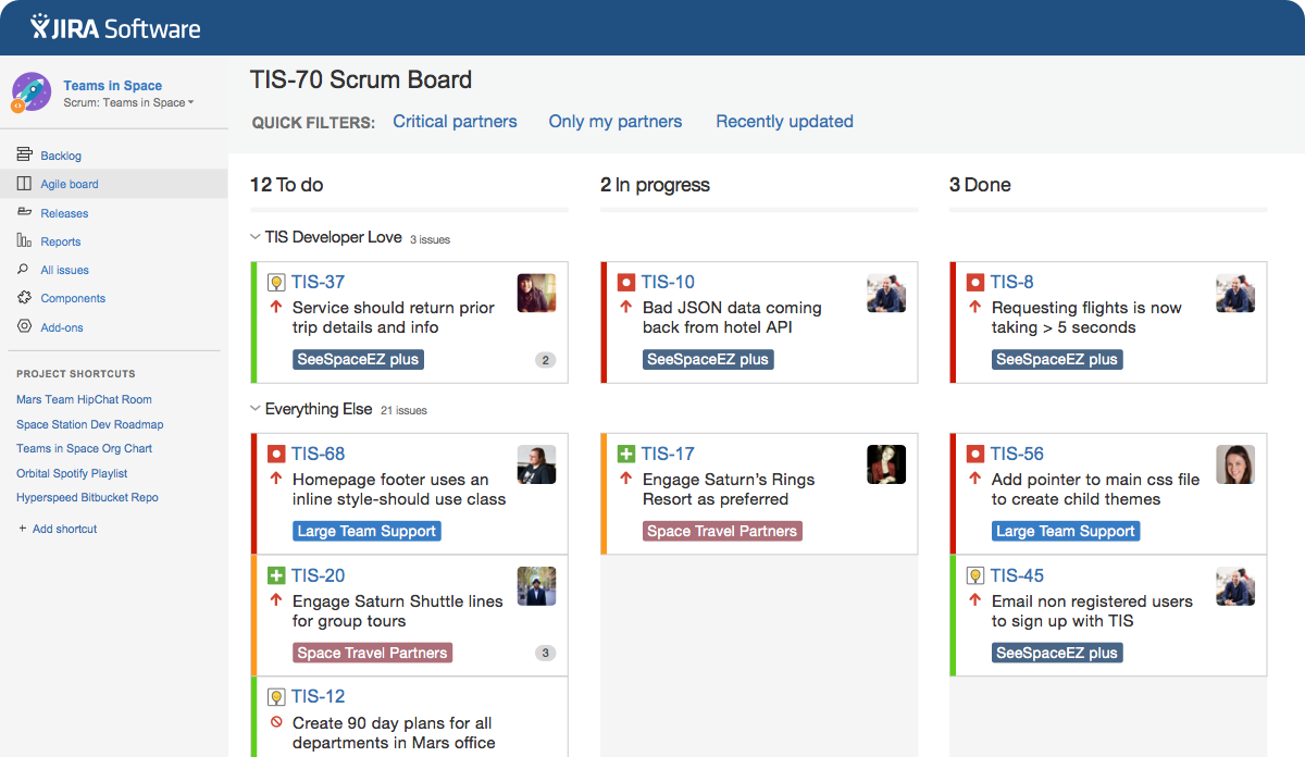 jira software screenshot of to do in progress done